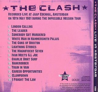 The Clash Live In Amsterdam (back) Viva Zapata Label